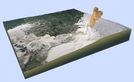 Erupção do vulcão de Islândia, rðarbunga do ¡ de BÃ, Bardabunga Imagem de Stock