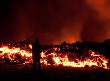 erupção em Fimmvörðuháls Fotos de Stock