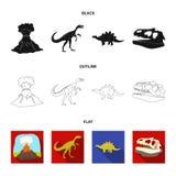Erupção vulcânica, gallimimus, stegosaurus, crânio do dinossauro Dinossauro e ícones ajustados da coleção do período pré-históric ilustração do vetor