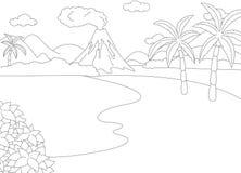 Erupção vulcânica Livro para colorir para crianças Fotos de Stock