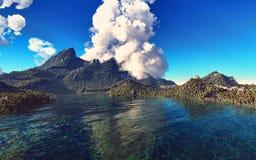 Erupção vulcânica na rendição da ilha 3d Foto de Stock