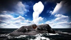 Erupção vulcânica na rendição da ilha 3d Imagens de Stock Royalty Free