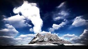 Erupção vulcânica na rendição da ilha 3d Fotos de Stock Royalty Free
