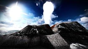 Erupção vulcânica na rendição da ilha 3d Imagens de Stock