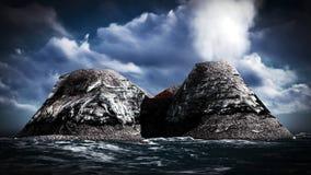 Erupção vulcânica na rendição da ilha 3d Imagem de Stock Royalty Free