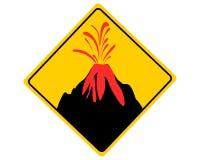 Erup??o vulc?nica do sinal de aviso do tr?fego ilustração stock