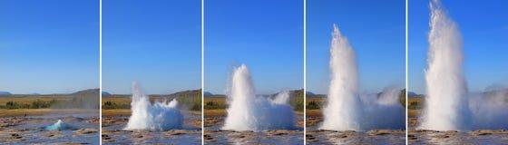 Erupción del géiser de Strokkur en orden Poder geotérmico, Islandia Fotos de archivo libres de regalías