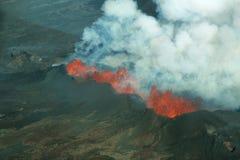 Erupción del volcán de Bardarbunga en Islandia Foto de archivo