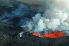 Erupción del volcán de Bardarbunga en Islandia Fotografía de archivo libre de regalías