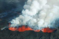 Erupción del volcán de Bardarbunga en Islandia Imagen de archivo libre de regalías