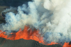 Erupción del volcán de Bardarbunga en Islandia Fotografía de archivo