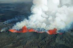 Erupción del volcán de Bardarbunga en Islandia Foto de archivo libre de regalías