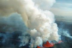 Erupción del volcán de Bardarbunga en Islandia Fotos de archivo libres de regalías