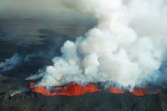 Erupción del volcán de Bardarbunga en Islandia Imágenes de archivo libres de regalías