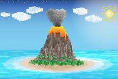 Erupción del volcán en el océano Imágenes de archivo libres de regalías