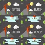 Erupción volcánica del modelo inconsútil del vector Humo y lava del cráter, del pueblo y de árboles en el pie Utilizado para las  stock de ilustración