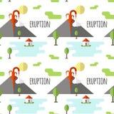 Erupción volcánica del modelo inconsútil del vector Humo y lava del cráter, del pueblo y de árboles en el pie Utilizado para las  ilustración del vector