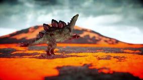 Erupción volcánica dinosaurio Período prehistórico, paisaje rocoso Animación realista 4K ilustración del vector
