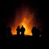 Erupción del volcán, fimmvorduhals Islandia Foto de archivo libre de regalías