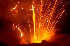 Erupcja wulkan Yasur, Vanuatu obraz stock