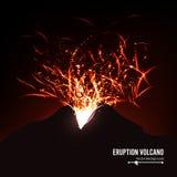Erupcja wulkanu wektor Burz iskry Duży I Ciężki wybuch Od góry Rzygać Rozjarzoną Gorącą lawę Obraz Stock
