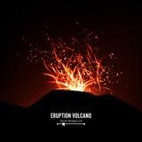 Erupcja wulkanu wektor Burz iskry Duży I Ciężki wybuch Od góry Rzygać Rozjarzoną Gorącą lawę Fotografia Stock