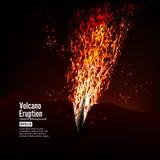 Erupcja wulkanu wektor Burz iskry Duży I Ciężki wybuch Od góry Rzygać Rozjarzoną Gorącą lawę Zdjęcia Stock