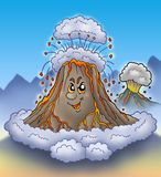 Erupting cartoon volcano. Color illustration Royalty Free Stock Photography