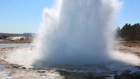 Erupting geyser. In Iceland, Strokkur stock footage
