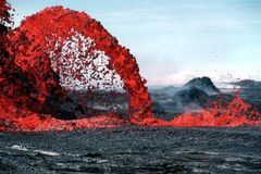 Erupting Lava during Daytime Royalty Free Stock Photography