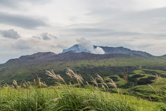 Erupting Mount Aso volcano view from natural trail in Kumamoto, Japan stock image