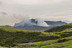 Erupting Mount Aso volcano view from natural trail in Kumamoto, Kyushu, Japan stock images