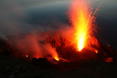 Erupting Stromboli from Pizzo. Part 1 Stock Photo
