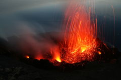 Erupting Stromboli from Pizzo. Part 2 Stock Images