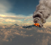 Erupting of volcano. Over the clouds (3D rendering Stock Photo