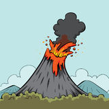 Erupting volcano. Cartoon illustration of erupting volcano with blue sky background Stock Images