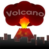Erupting volcano on the background of the houses of the city. Vector stock illustration