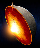 Erupting volcano and split the earth core Stock Photos