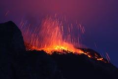 Erupting volcano Stromboli  Royalty Free Stock Image