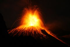 Erupting volcano with Strombolian type eruption Royalty Free Stock Image