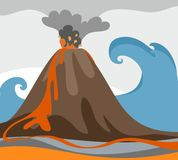 An erupting volcano, tsunami, colored picture, vector. Against the background of rising ocean with a big wave erupting volcano. Colored, flat picture. From a Stock Photos