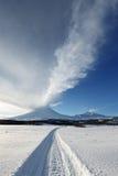 Eruption active Klyuchevskoy Volcano on Kamchatka Peninsula Stock Photos