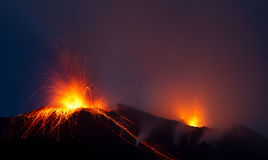 Eruption of active volcano. Right after sunset Royalty Free Stock Photography