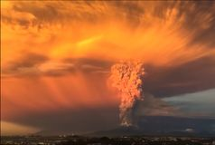 Eruption. Clubs of smoke and ash in the atmosphere.  Royalty Free Stock Images