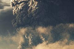 Eruption. Clubs of smoke and ash in the atmosphere.  Royalty Free Stock Photos