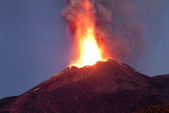 Eruption Etna 26-10-2013 Stock Photos
