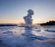 Eruption of famous Strokkur geyser in Iceland. Royalty Free Stock Photos