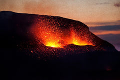 Eruption on Fimmvorduhals, Southern Iceland . Royalty Free Stock Photos