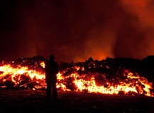 Eruption in Fimmvörðuháls Stock Photos