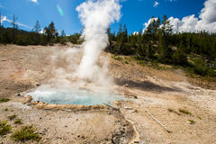 The geothermal in yellowstone park. Eruption of the geothermal under blue sky in yellowstone park royalty free stock photo
